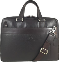 Men's Genuine Leather Briefcase Laptop Shoulder Messenger Bag - Brown