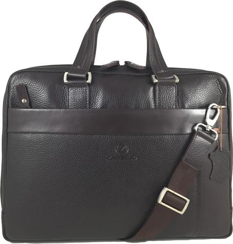 Men's Genuine Leather Briefcase Laptop Shoulder Messenger Bag - Brown