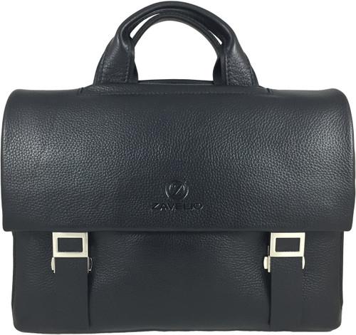 Men's Genuine Leather Briefcase Twin Buckle Shoulder Bag