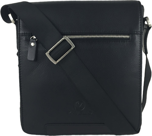 Zavelio Men's Genuine Leather Small Crossbody Shoulder Messenger Bag - Black | ZAVELIO 1