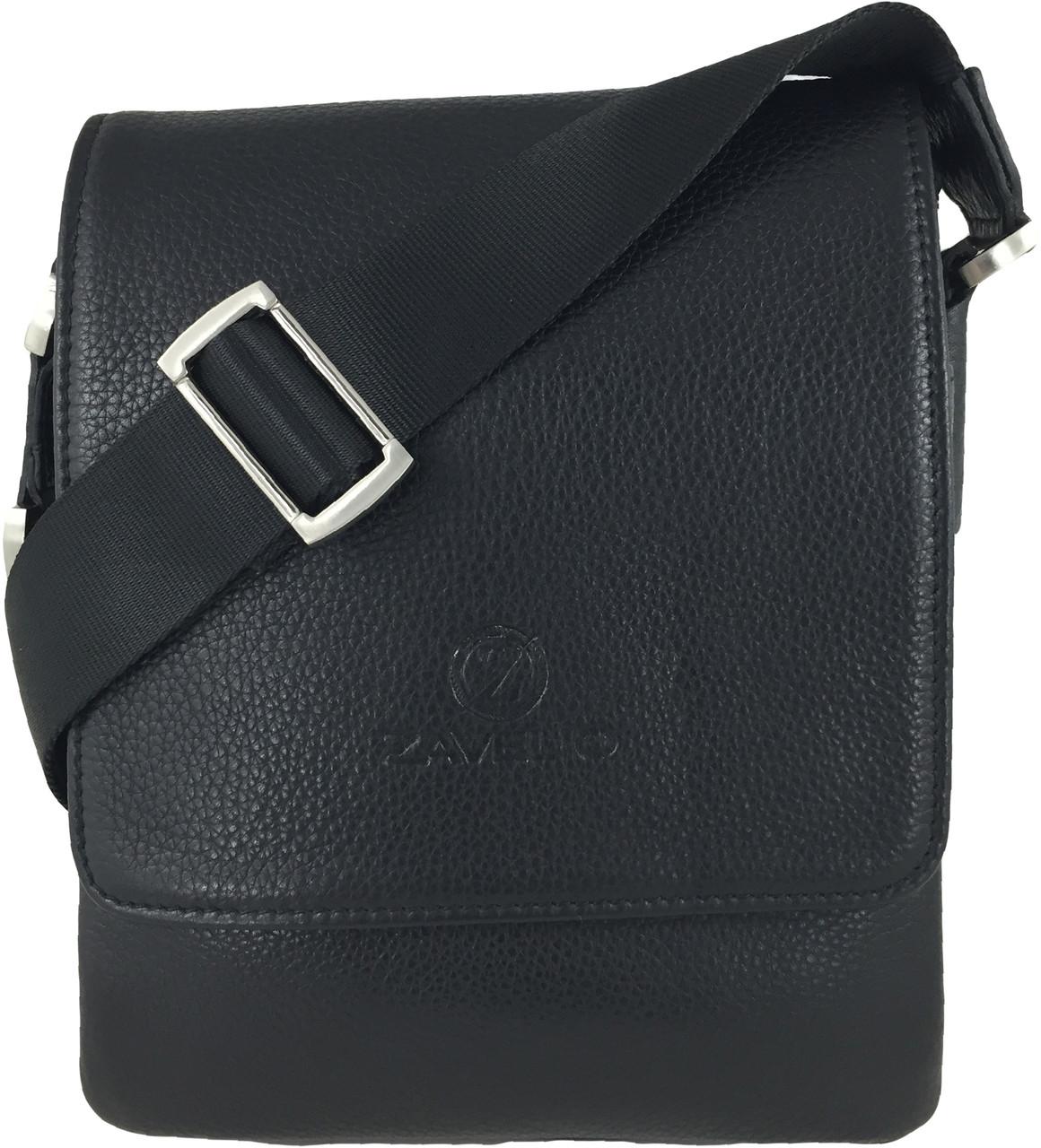 Men s Genuine Leather Small Crossbody Shoulder Messenger Bag - Black ... 2f65635c07e06