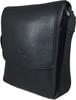 Men's Genuine Leather Medium Cross Body Shoulder Messenger Bag - Black 2