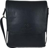 Men's Genuine Leather Medium Cross Body Shoulder Messenger Bag - Black 1