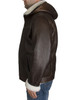 Zavelio Men's Genuine Shearling Sheepskin Aviator Bomber Hooded Winter Jacket - Brown side