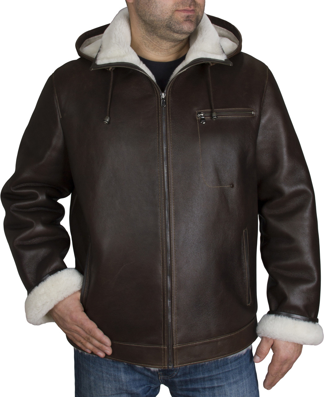 4db44a44d7881 Zavelio Men s Genuine Shearling Sheepskin Aviator Bomber Hooded Winter  Jacket - Brown front. Loading zoom