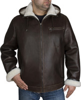 Zavelio Men's Genuine Shearling Sheepskin Aviator Bomber Hooded Winter Jacket - Brown front