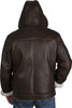 Zavelio Men's Genuine Shearling Sheepskin Aviator Bomber Hooded Winter Jacket - Brown back