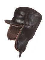 Shearling Sheepskin Visor Elmer Fudd Winter Fur Hat - Brown