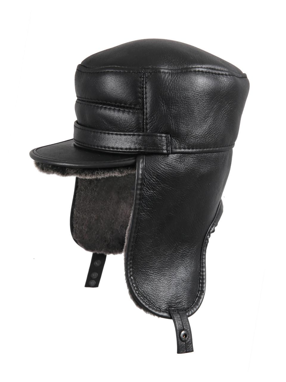e98ba154489 Shearling Sheepskin Visor Elmer Fudd Winter Fur Hat - Black
