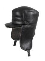 Shearling Sheepskin Visor Elmer Fudd Winter Fur Hat - Black