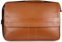 Henry Genuine Leather Business Briefcase Messenger Shoulder Bag - Tan