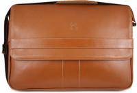Henry Genuine Leather Business Briefcase Messenger Shoulder Bag - Tan