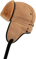 Shearling Sheepskin Biker Trapper Fur Hat-Tan