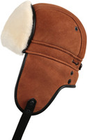 Shearling Sheepskin Biker Trapper Fur Hat - Cognac