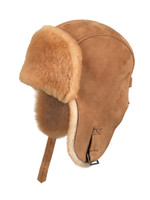 Shearling Sheepskin Pilot Winter Fur Hat - Tan