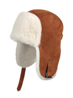 Shearling Sheepskin Pilot Winter Fur Hat -Cognac