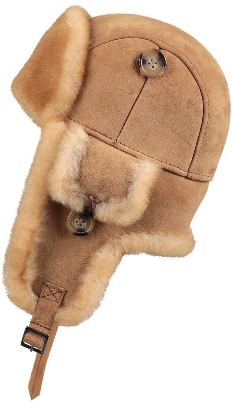 ... Leather Aviator Sheepskin Hat - Tan. Image 1. Loading zoom 180417efadb7