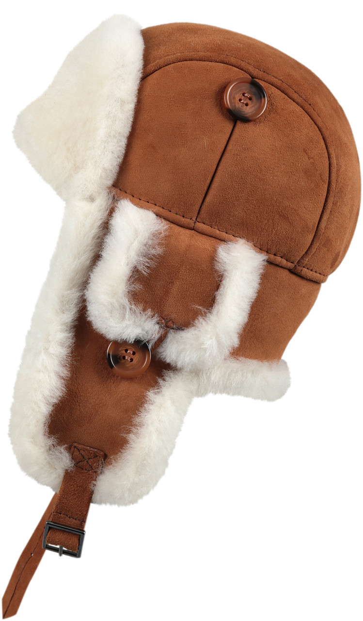 ac04c1e20 Leather Aviator Sheepskin Hat - Cognac