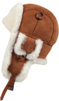 Leather Aviator Sheepskin  Hat - Cognac
