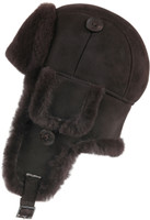 Leather Aviator Sheepskin  Hat - Brown