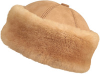 Shearling Sheepskin Bucket Winter Fur Hat - Tan