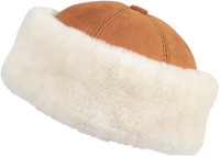 Shearling Sheepskin Bucket Winter Fur Hat - Cognac