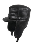 Shearling Sheepskin Visor Elmer Fudd Winter Fur Hat - Solid Black