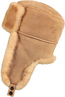 Shearling Sheepskin Russian Ushanka Winter Fur Hat - Tan