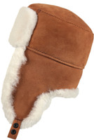 Shearling Sheepskin Russian Ushanka Fur Hat - Cognac