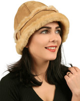Women's Shearling Sheepskin Winter Fur Bucket Beanie Hat - Tan