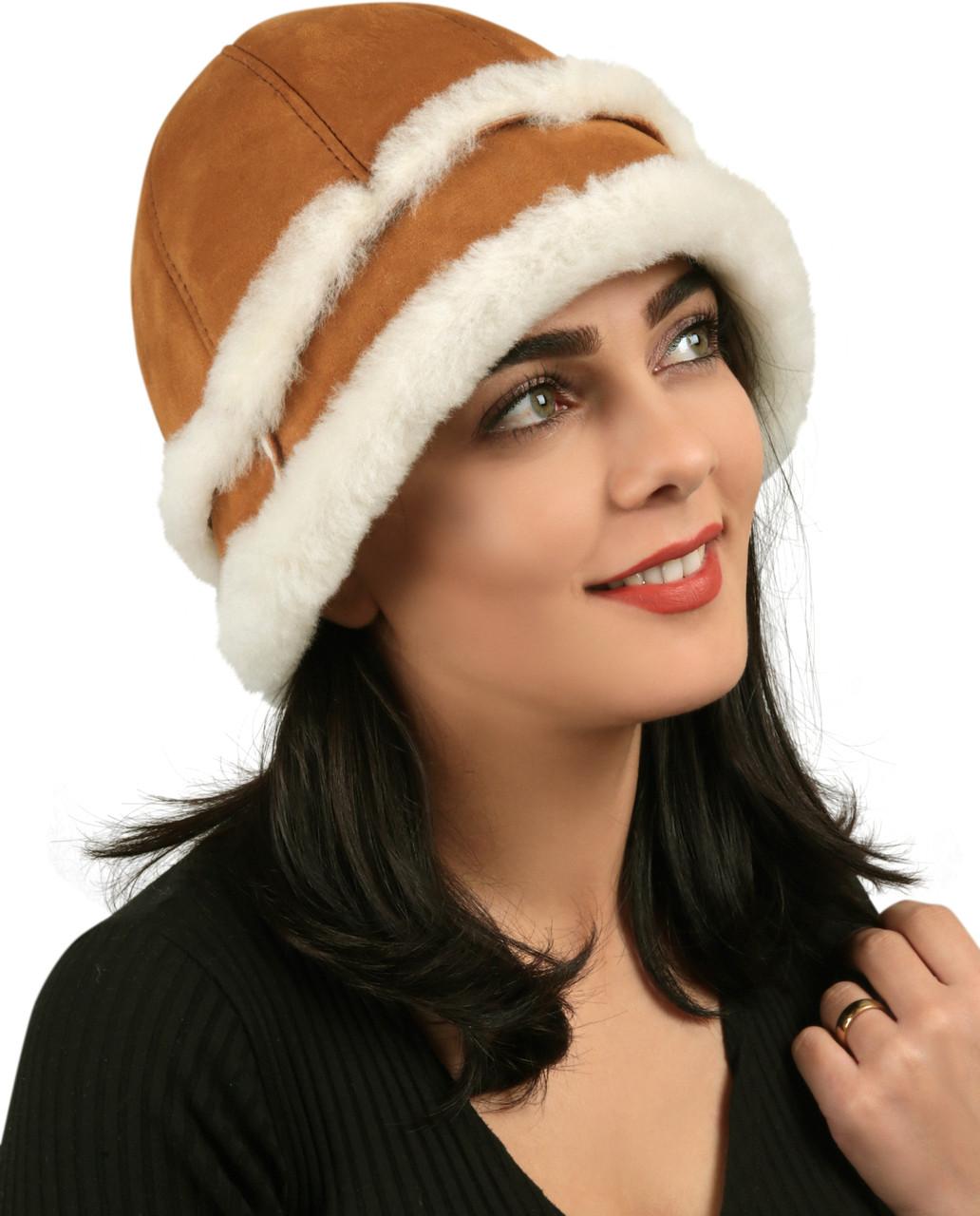 311c6b076 Women's Shearling Sheepskin Winter Fur Bucket Beanie Hat Taba