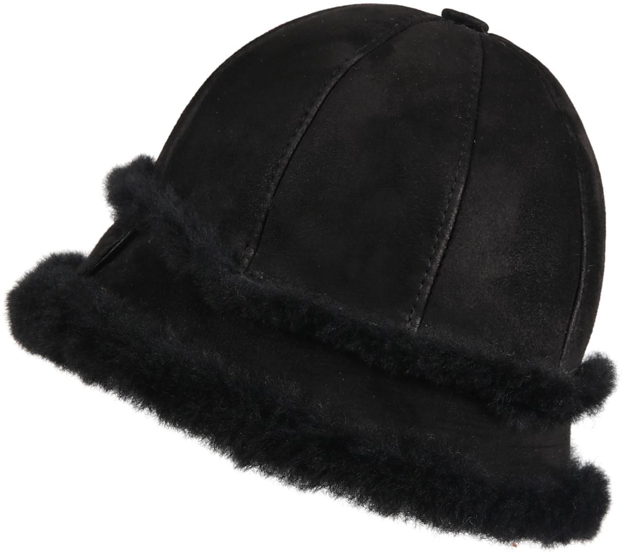 bbecc1747 Women's Shearling Sheepskin Winter Fur Bucket Beanie Hat Black Suede