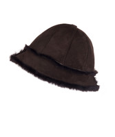Women's Shearling Sheepskin Winter Fur Bucket Beanie Hat Brown Suede