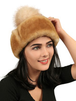 Women's Shearling Sheepskin Snap Hat with Fox Pom Pom  Tan