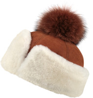 Women's Shearling Sheepskin Hat with Fox Pom Pom  Cognac