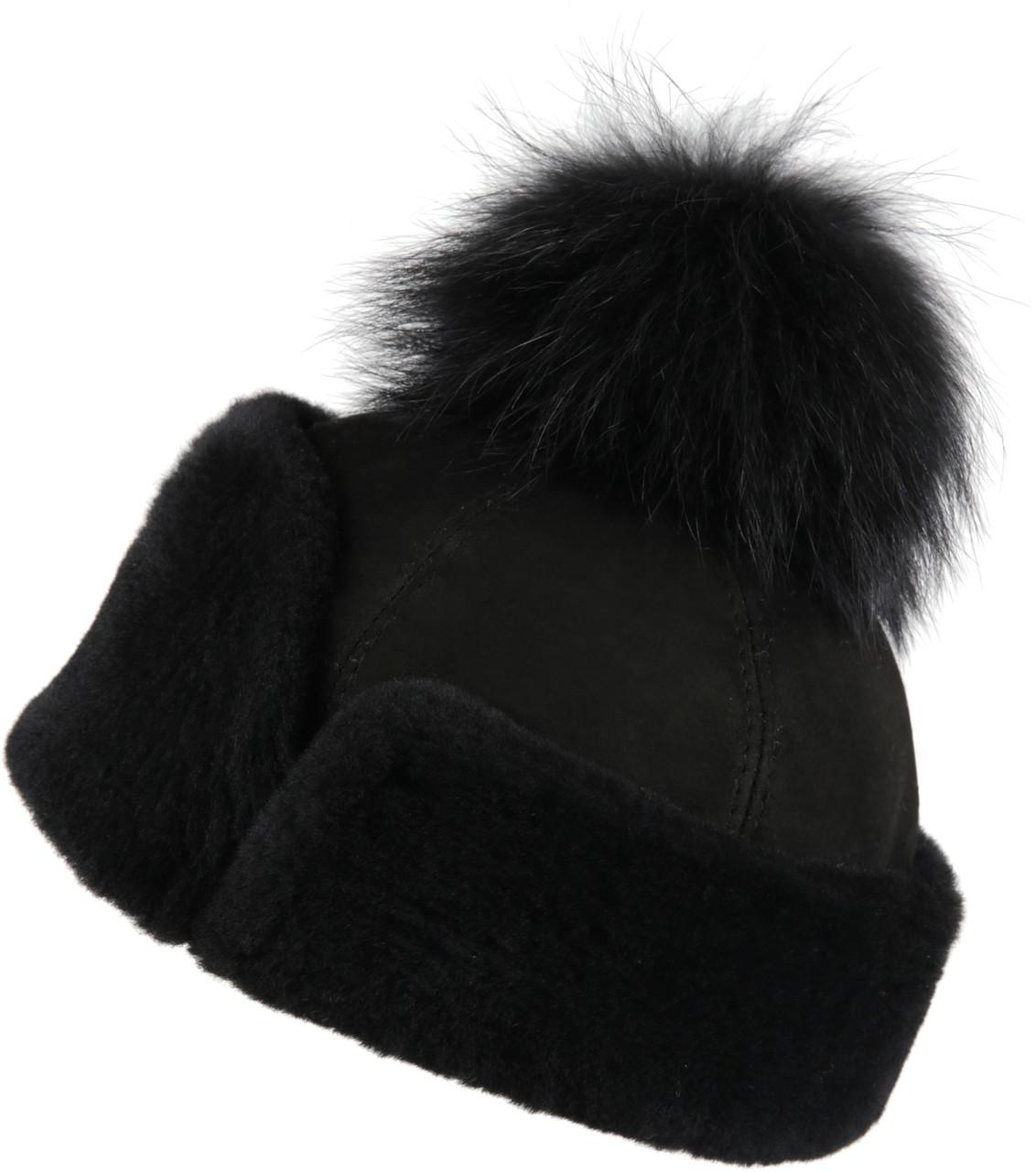 8a5ff17105e755 ... Women's Shearling Sheepskin Snap Hat with Fox Pom Pom Black Suede.  Image 1. Loading zoom
