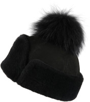 Women's Shearling Sheepskin Hat with Fox Pom Pom - Black Suede