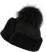 Women's Shearling Sheepskin Hat with Fox Pom Pom - Black Suede