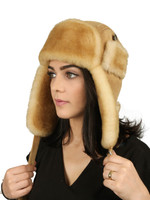 Women's Leather Aviator Sheepskin  Hat - Tan