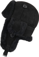 Women's Leather Aviator Sheepskin  Hat  Black Suede