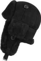 Women's Leather Aviator Sheepskin  Hat  Black Suede