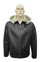 Men's Genuine Shearling Sheepskin Aviator Bomber Hooded Winter Jacket - 3XL