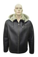 Men's Genuine Shearling Sheepskin Aviator Bomber Hooded Winter Jacket - 3XL
