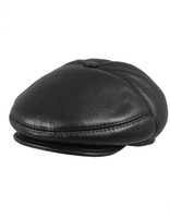 Men's Leather Shearling Sheepskin 5 Panel Ivy Driving Cap Black