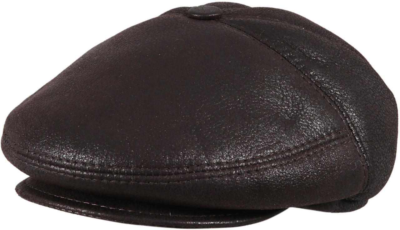 5a1c2eb8e87 ... Men s Leather Shearling Sheepskin 5 Panel Ivy Driving Cap Brown. Image  1. Loading zoom