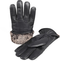 Men's Premium Shearling Sheepskin Fur Lined Leather Gloves Black