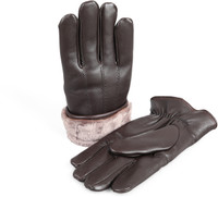 Men's Premium Shearling Sheepskin Fur Lined Leather Gloves Brown
