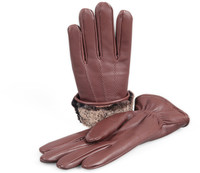 Men's Premium Shearling Sheepskin Fur Lined Leather Gloves Burgundy