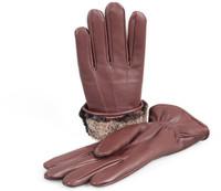 Men's Premium Shearling Sheepskin Fur Lined Leather Gloves Burgundy