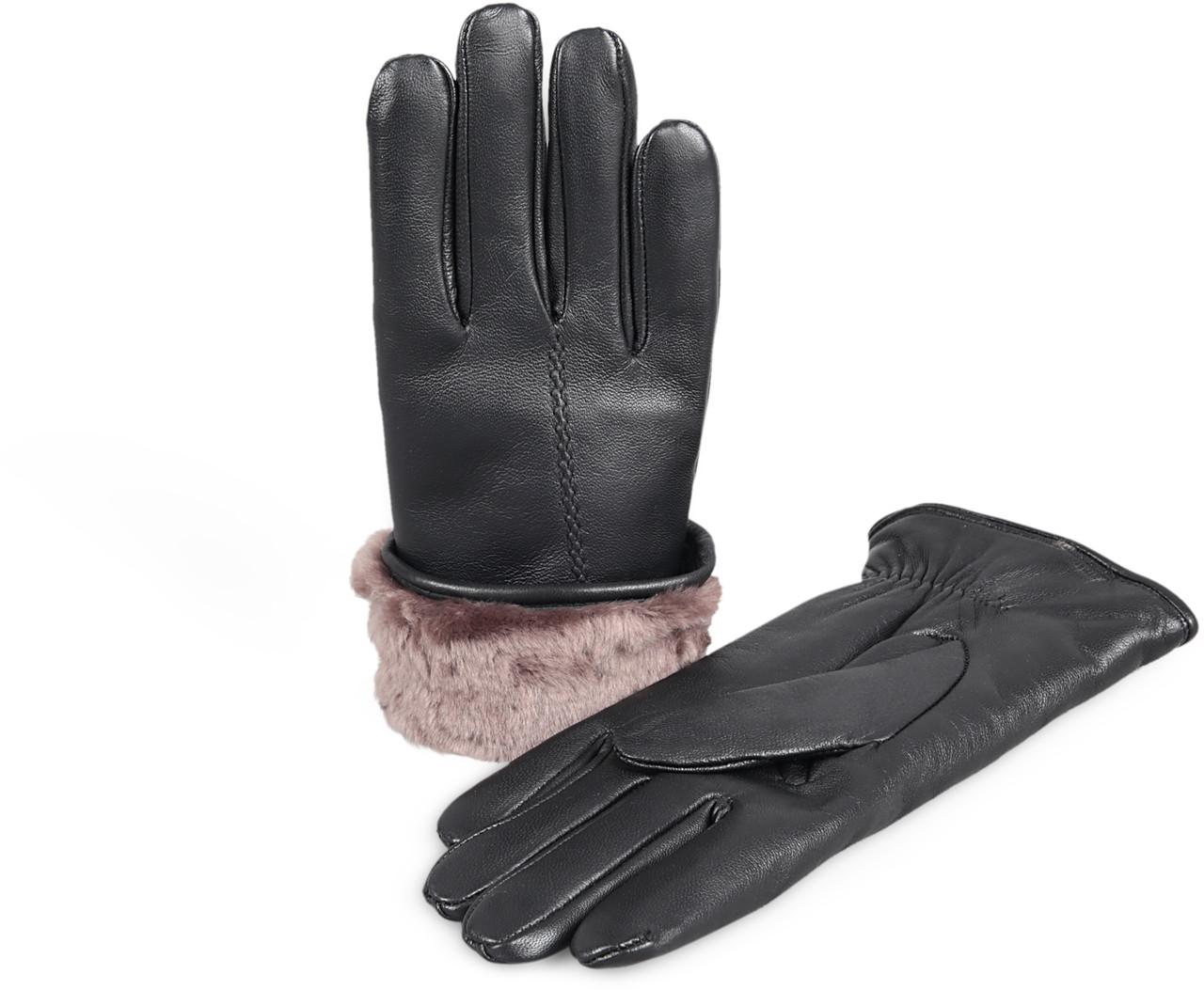 386685761da56 Genuine Women's Premium Shearling Sheepskin Fur Lined Leather Gloves ...